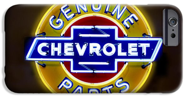 Genuine iPhone Cases - Neon Genuine Chevrolet Parts Sign iPhone Case by Mike McGlothlen