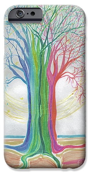 Child iPhone Cases - Neon Rainbow Tree by jrr iPhone Case by First Star Art