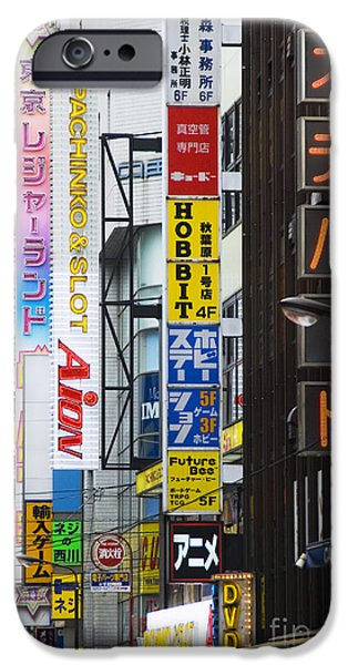Overhang iPhone Cases - Neon sign street scene iPhone Case by Bill Brennan - Printscapes