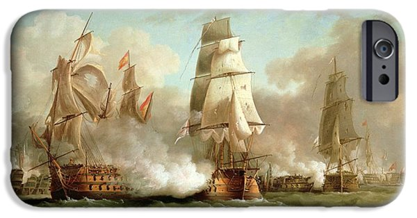 Sea iPhone Cases - Neptune engaging Trafalgar iPhone Case by J Francis Sartorius