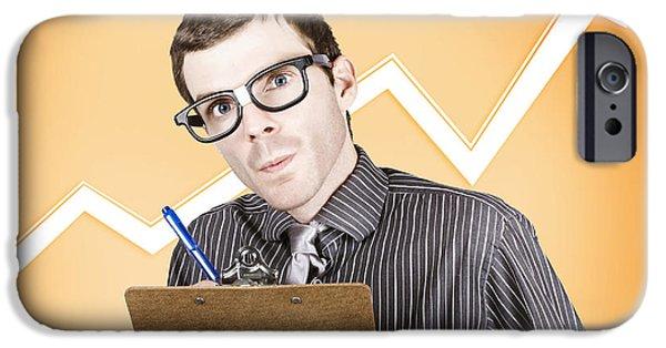 Analyst iPhone Cases - Nerd stock market analyst writing finance report iPhone Case by Ryan Jorgensen