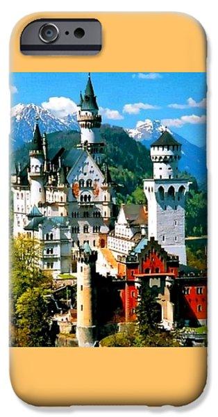 Abstract Digital Paintings iPhone Cases - Neuschwanstein Castle Bavaria Germany H B iPhone Case by Gert J Rheeders