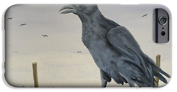 Crows iPhone Cases - Nevermore iPhone Case by Magdolna Ban