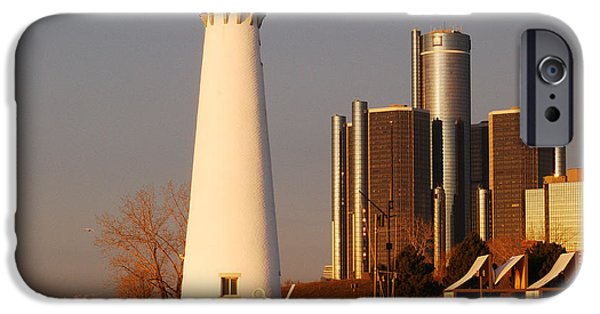 Renaissance Center iPhone Cases - New And The Old iPhone Case by Michael Peychich