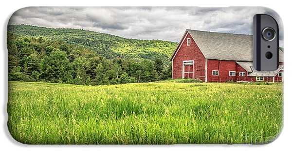 New Hampshire iPhone Cases - New England Farm Landscape iPhone Case by Edward Fielding