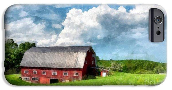 Maine Barns iPhone Cases - New England Farm Landscape Watercolor iPhone Case by Edward Fielding