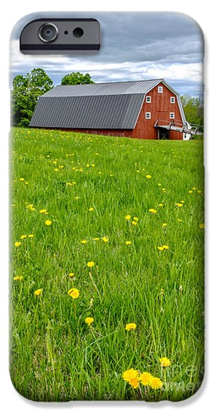 New England Dairy Farms iPhone Cases - New England Landscape iPhone Case by Edward Fielding