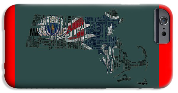 Boston Globe iPhone Cases - New England Patriots Typographic Map iPhone Case by Brian Reaves