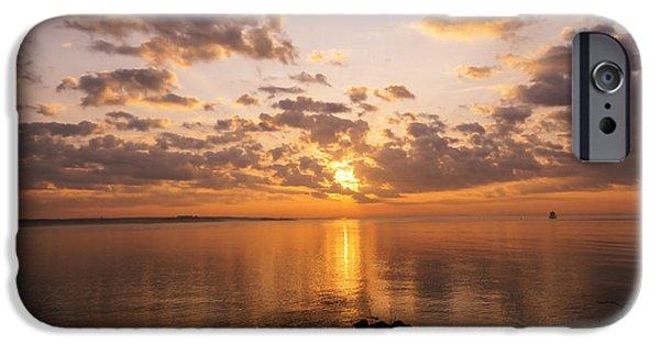 Ledge iPhone Cases - New England Sunrise iPhone Case by Joe Geraci