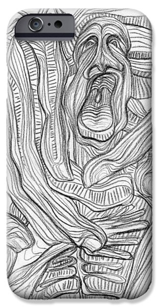 Abstract Expressionist Drawings iPhone Cases - New Faith iPhone Case by Taylan Soyturk