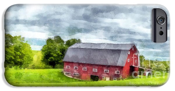 New England Barns iPhone Cases - New Hampshire Landscape Red Barn Etna iPhone Case by Edward Fielding