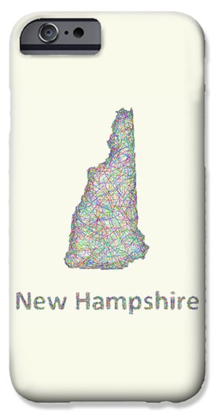 Concord Drawings iPhone Cases - New Hampshire line art map iPhone Case by David Zydd