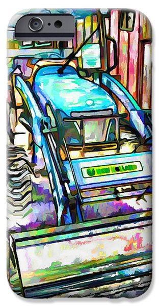 Work Tool Paintings iPhone Cases - New Holland Workmaster 75 Tractor  2 iPhone Case by Lanjee Chee