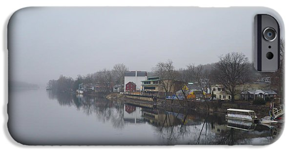 River View iPhone Cases - New Hope River View on a Misty Day iPhone Case by Bill Cannon