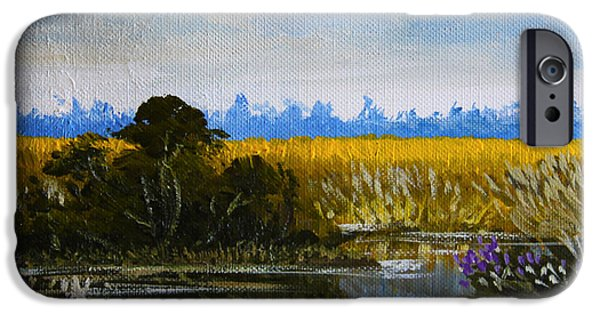 Waterscape Paintings iPhone Cases - New Jersey Marsh iPhone Case by Karon Melillo DeVega