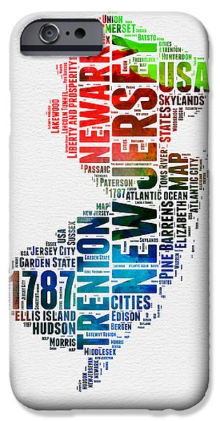New Jersey iPhone Cases - New Jersey Watercolor Word Cloud  iPhone Case by Naxart Studio
