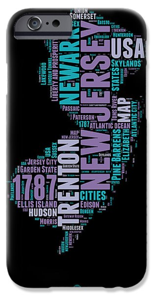 July Mixed Media iPhone Cases - New Jersey Word Cloud 1 iPhone Case by Naxart Studio