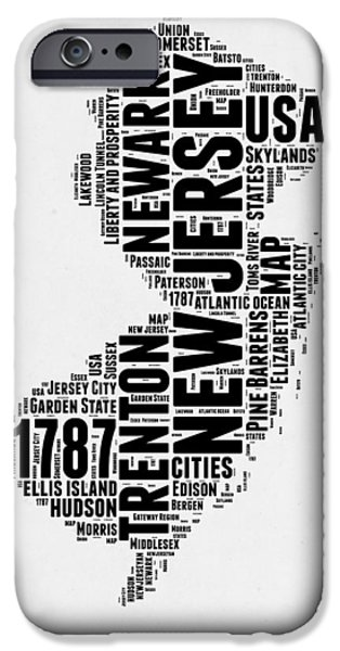 4th July Mixed Media iPhone Cases - New Jersey Word Cloud 2 iPhone Case by Naxart Studio
