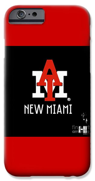 Cities Tapestries - Textiles iPhone Cases - New Miami Red iPhone Case by HI Level