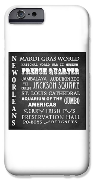 Jambalaya iPhone Cases - New Orleans Famous Landmarks iPhone Case by Patricia Lintner