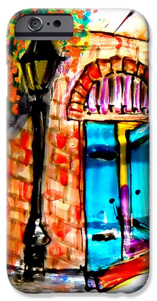 Vivid Glass iPhone Cases - New Orleans French Quarter iPhone Case by Deborah jordan Sackett