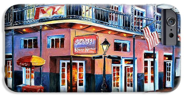 Night Lamp iPhone Cases - New Orleans Krazy Korner iPhone Case by Diane Millsap