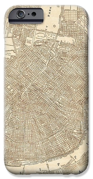 Old Digital Art iPhone Cases - New Orleans Louisiana Antique Vintage City Map iPhone Case by ELITE IMAGE photography By Chad McDermott