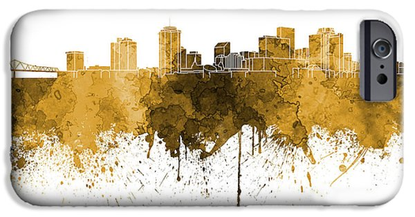 States iPhone Cases - New Orleans skyline in orange watercolor on white background iPhone Case by Pablo Romero