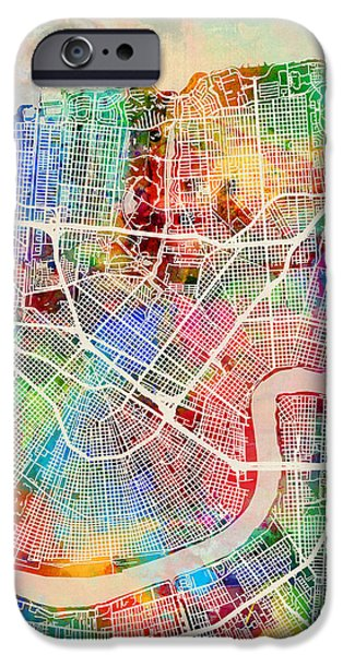 Street Maps iPhone Cases - New Orleans Street Map iPhone Case by Michael Tompsett