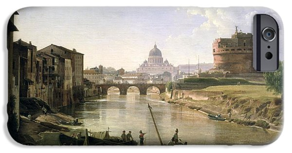 River iPhone Cases - New Rome with the Castel Sant Angelo iPhone Case by Silvestr Fedosievich Shchedrin