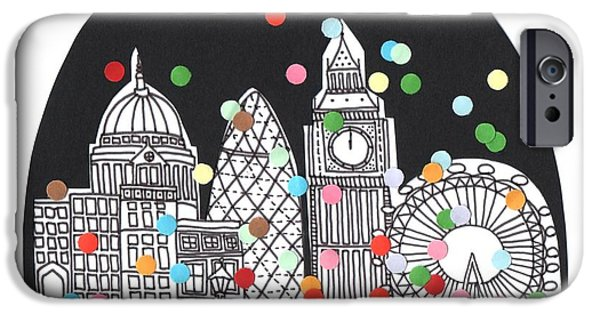 Buildings Mixed Media iPhone Cases - New Year iPhone Case by Isobel Barber