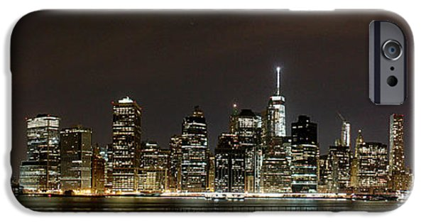 Hudson River iPhone Cases - New York at night iPhone Case by Alex Pyro