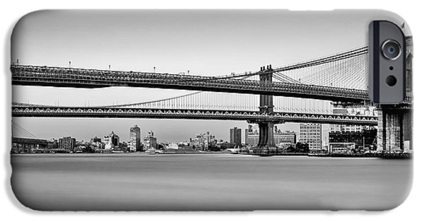 Empire State iPhone Cases - New York City Bridges BMW BW iPhone Case by Susan Candelario