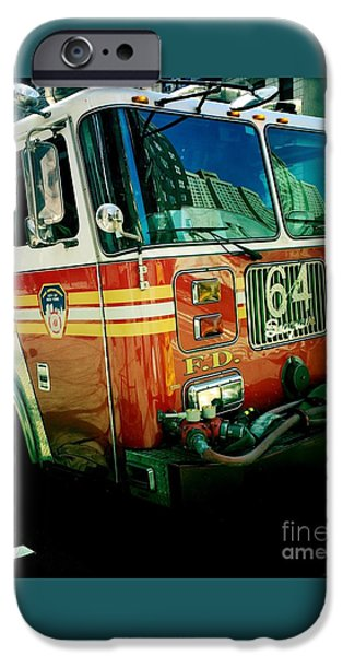 Twin Towers Nyc iPhone Cases - New York City Fire Engine iPhone Case by Miriam Danar