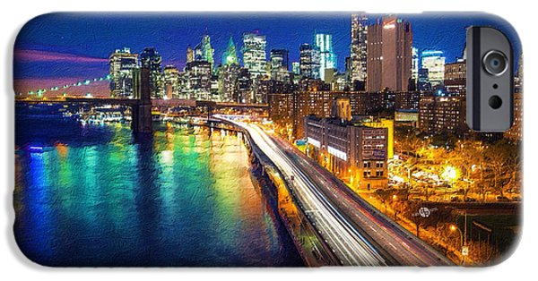 Blue Abstracts iPhone Cases - New York City Lights Blue iPhone Case by Tony Rubino