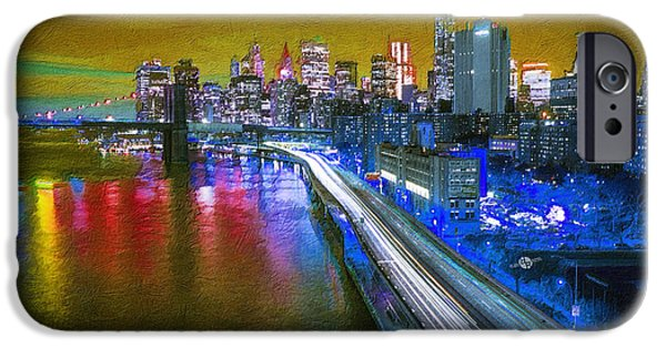 Abstract Digital Paintings iPhone Cases - New York City Lights Gold iPhone Case by Tony Rubino