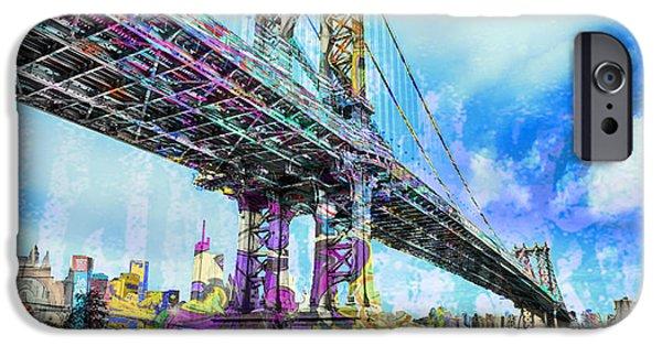 Manhattan Mixed Media iPhone Cases - New York City Manhattan Bridge Blue iPhone Case by Tony Rubino