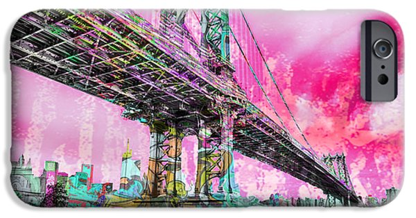 Manhattan Mixed Media iPhone Cases - New York City Manhattan Bridge Red iPhone Case by Tony Rubino