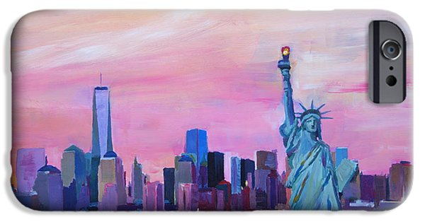Empire State iPhone Cases - New York City - Manhattan Skyline with Downtown World Trade Center One and Statue of Liberty iPhone Case by M Bleichner