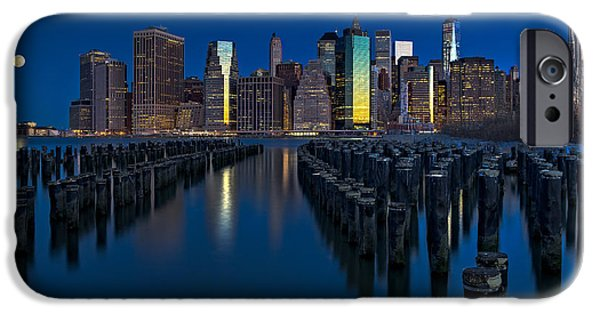 Empire State iPhone Cases - New York City Moonset iPhone Case by Susan Candelario