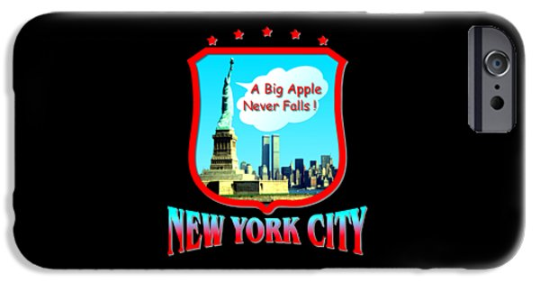 Skylines Tapestries - Textiles iPhone Cases - New York City - Big Apple iPhone Case by Peter Fine Art Gallery  - Paintings Photos Digital Art