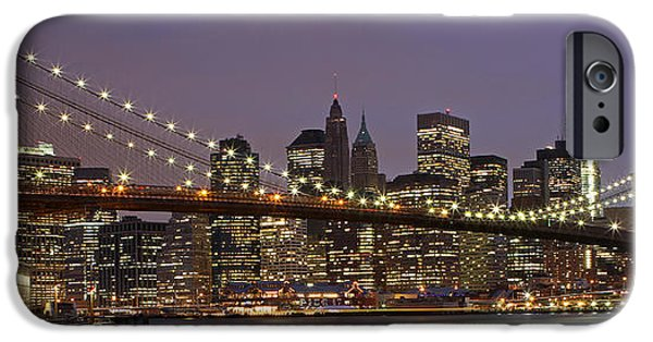 River iPhone Cases - New York City Skyline and Brooklyn Bridge  iPhone Case by Juergen Roth
