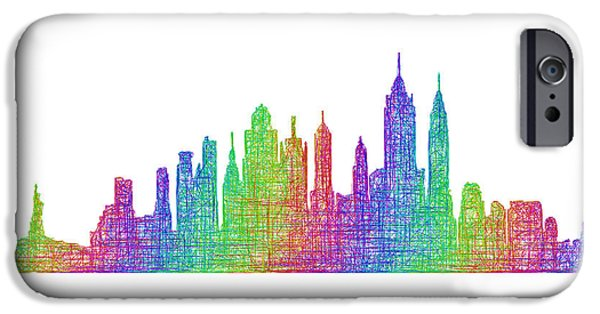 City Scape Drawings iPhone Cases - New York City skyline iPhone Case by David Zydd