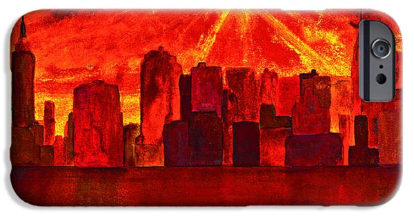Twin Towers Nyc iPhone Cases - New York City Skyline Golden Sunrise iPhone Case by Ken Figurski