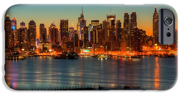 Hudson River iPhone Cases - New York City Skyline Morning Twilight V iPhone Case by Clarence Holmes