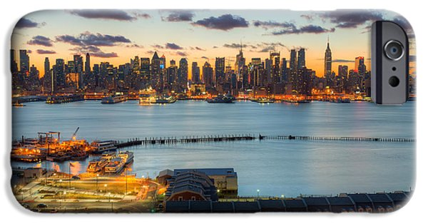 Hudson River iPhone Cases - New York City Skyline Morning Twilight VIII iPhone Case by Clarence Holmes