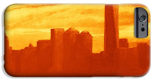 Twin Towers Nyc Digital iPhone Cases - New York City Skyline orange iPhone Case by Ken Figurski