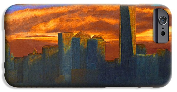 Twin Towers Nyc iPhone Cases - New York City Skyline Painting iPhone Case by Ken Figurski