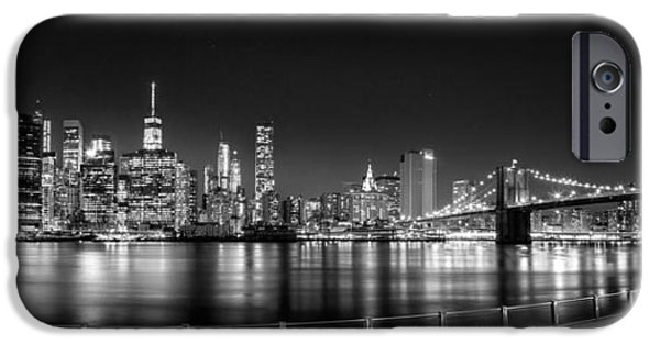Big Cities iPhone Cases - New York City Skyline Panorama At Night BW iPhone Case by Az Jackson