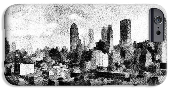 Cities Drawings iPhone Cases - New York City Skyline Sketch iPhone Case by Edward Fielding